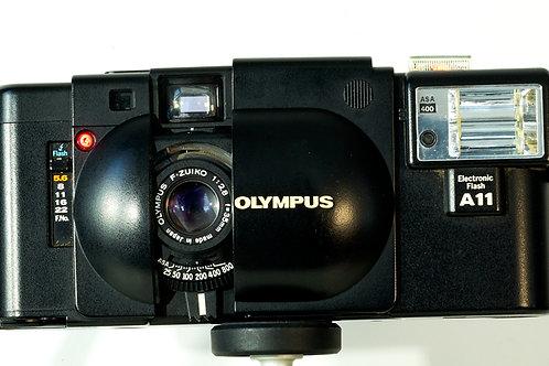 Olympus XA rangefinder with A11 flash S#3002014