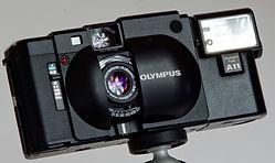 Olympus XA rangefinder cameraand A11 flash