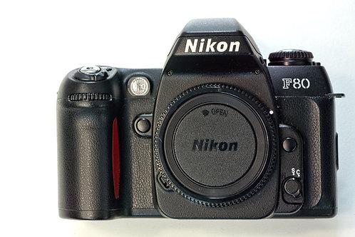 Nikon F80 SLR camera body front view