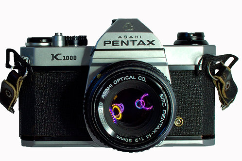 Pentax K1000 and SMC 50mm F2 lens front view