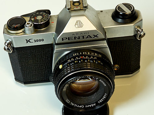 Pentax K1000 with 50mm F2 lens front view