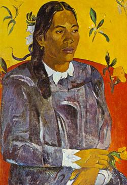 Tahitian Woman with flowers, Gauguin