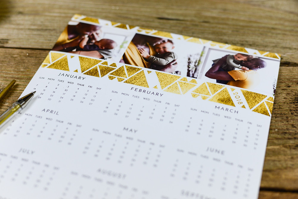 Calendar on wooden desk