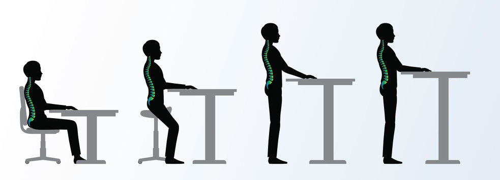 Diagram of different postures to be in while working