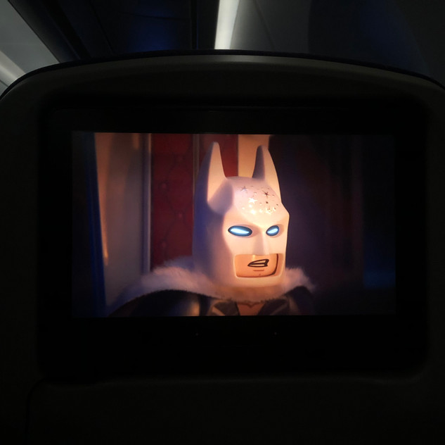 Watch Lego the movie 2 during the flight.