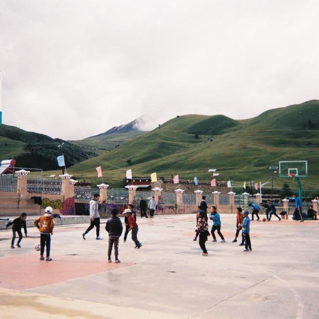 Kids attending soccer class