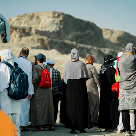 The group are given a moment to stop at Mount Thawr.