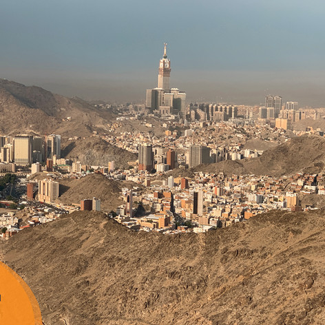 The clocktower as seen from the top of Jabal Noor. If you zoom into the photograph you are able to see the minarets of the Haram in comparison to the height of the clocktower.