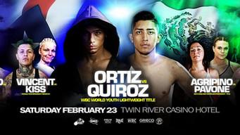 Ortiz, Quiroz battle Feb. 23 for WBC Youth crown