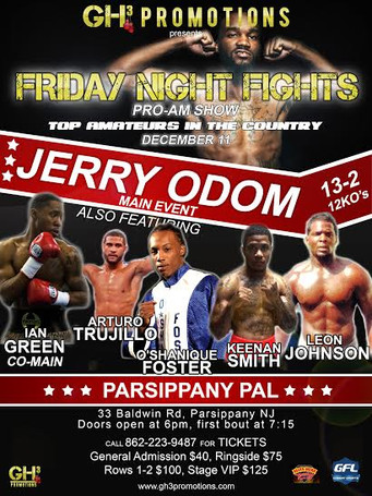 Jerry Odom to fight Michael Mitchell on Friday, 12-11 at the Parsippany PAL in Parsippany, New Jerse