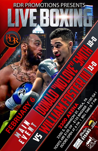 RDR Promotions Presents a Super Night of Boxing on Sat., February 6th @ The 2300 Arena in Philly