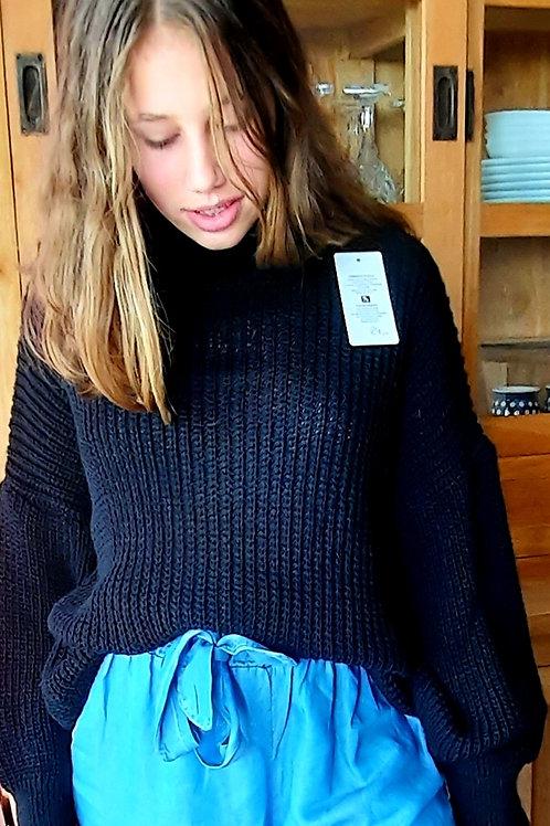 Sportieve trui met col, maat TU, zwart