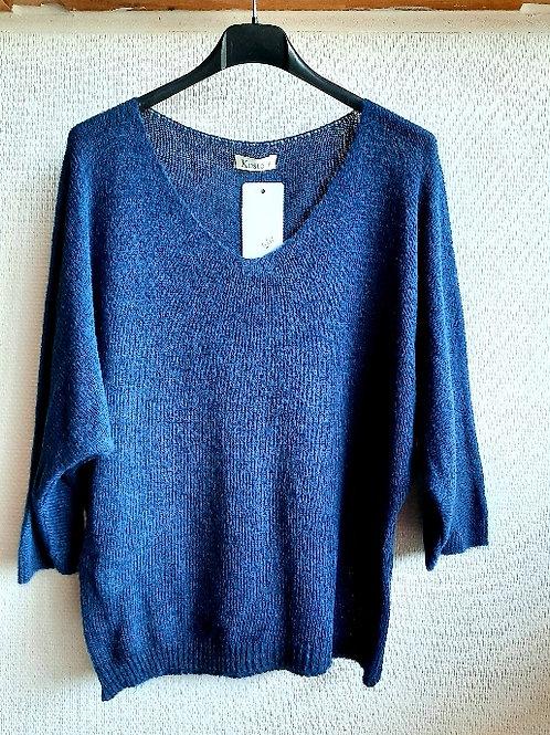 Basic trui met wol , maat  TU, jeansblauw