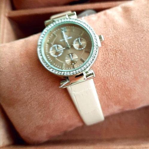 Horloge met bandje in zachtroze crocoprint