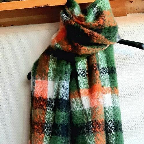 Lange sjaal - superzacht - met groene ruiten