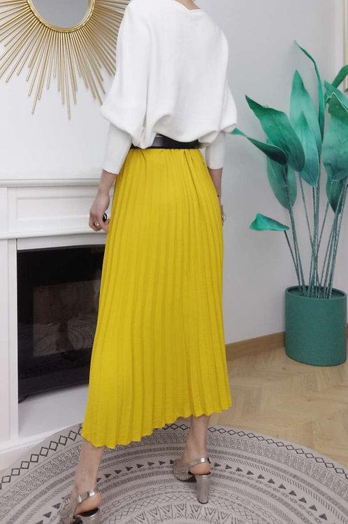 Vrouwelijke plissé rok in geel, maat TU