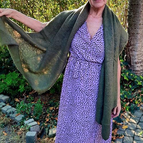 Warme sjaal met cashmere in mosgroen