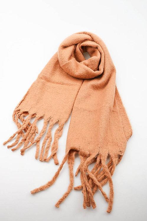 Superzachte sjaal met franjes, camel
