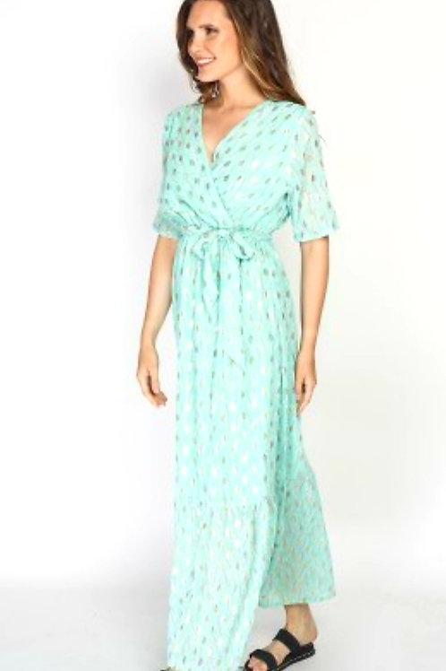 Lange jurk Diana in turquoise,  maat  L/XL