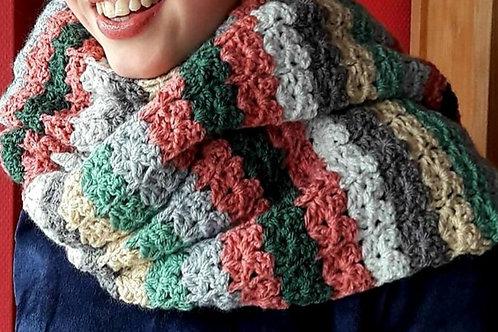 Lange sjaal in hortensia tinten