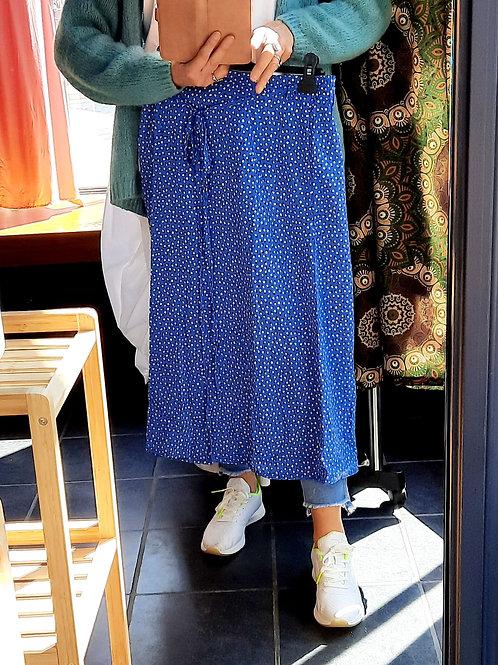 Blauwe rok met motieven, maat S/M en M/L