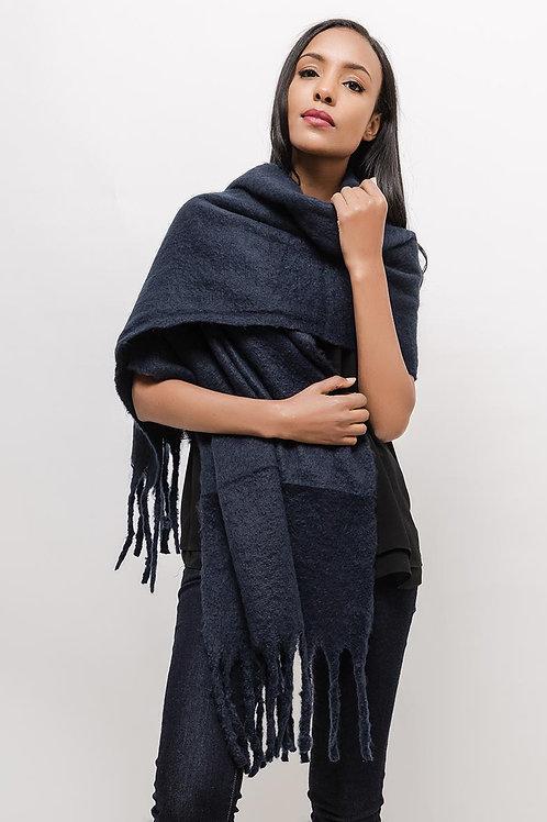 Superzachte sjaal met franjes, donkerblauw