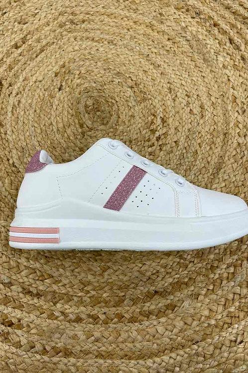 Sneakers met roze glitterband, verschillende maten