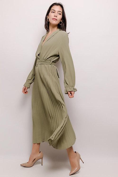 Lange jurk met plissé rok  in verschillende maten, ocean wave
