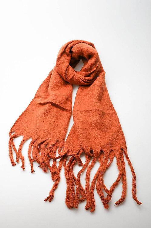 Superzachte sjaal met franjes, terracotta