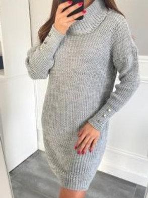 Lichtgrijze trui-jurk, maat TU