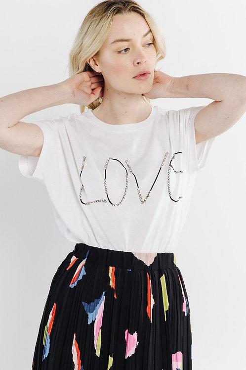 LOVE shirt met kristalsteentjes, maat L