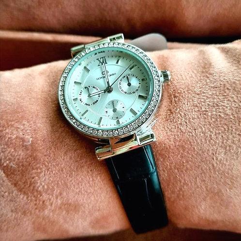 Horloge met bandje in zwarte crocoprint