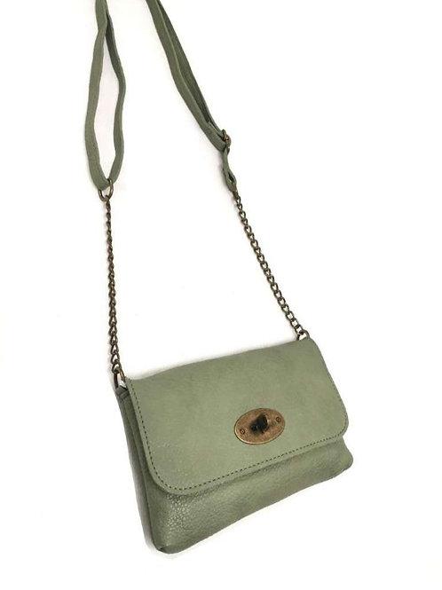 Kleine schoudertas met ketting, lichtgroen