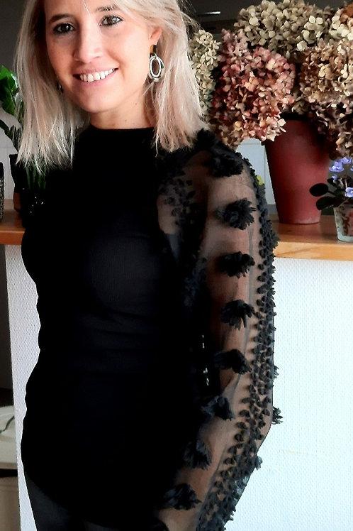 Zwart bloesje met transparante mouwen, maat TU