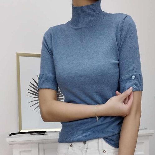 Vrouwelijk truitje, maat TU, kleur jeansblauw