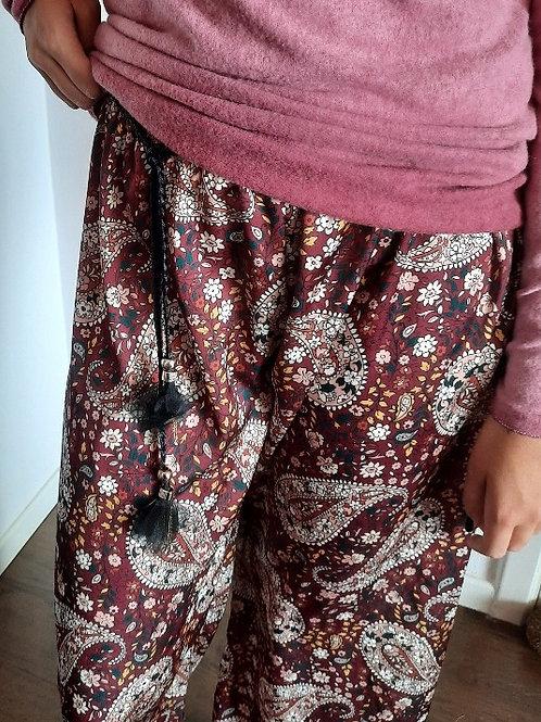 Bordeaux-roze bedrukte broek LES FRINGUES A MAMAN maat TU