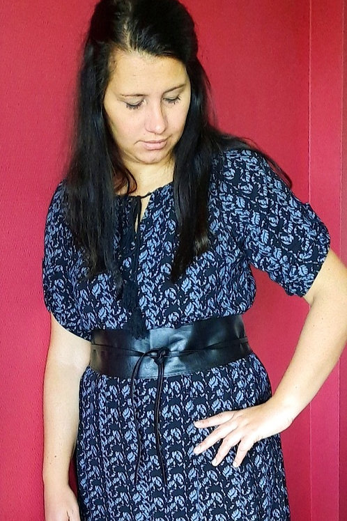 Zwart kleedje met grijs motief - maat TU