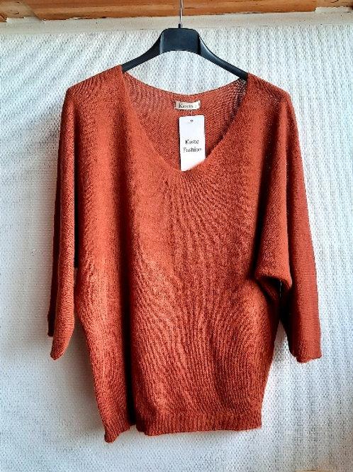 Basic trui met v-hals lange versie, maat TU, roest