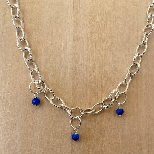 Schakelketting met blauwe parels