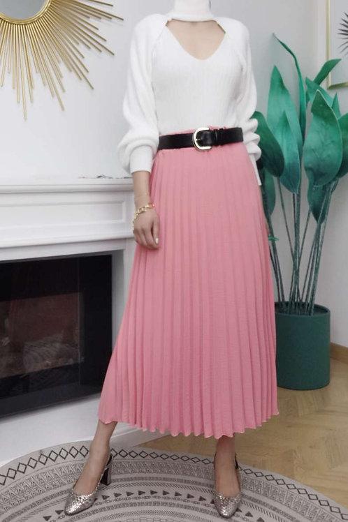 Vrouwelijke plissé rok in roze, maat TU