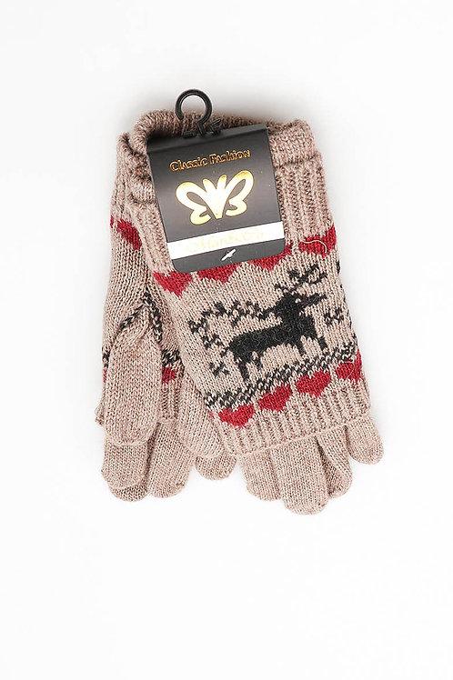 Schattige handschoenen met rendieren, taupe