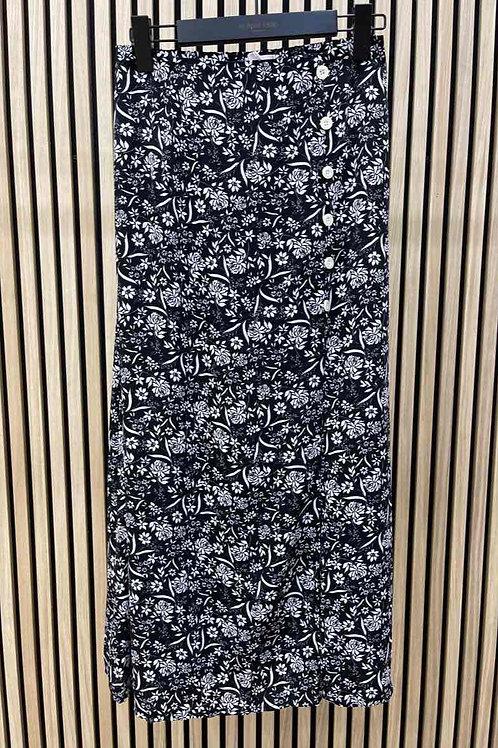 Zwarte rok met bloem motieven, maat S/M en M/L