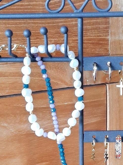 Armband met wilde parels en kristal