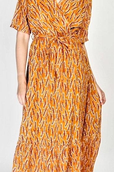 Lange jurk Diana in oranje,  maat L/XL