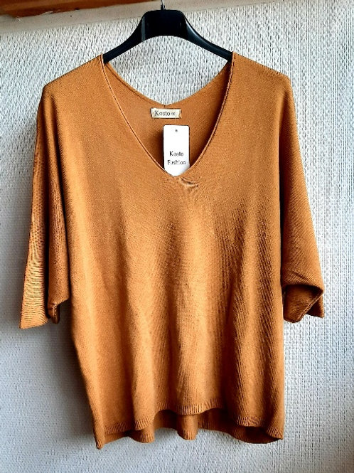 Basic trui met v-hals lange versie, maat TU, camel
