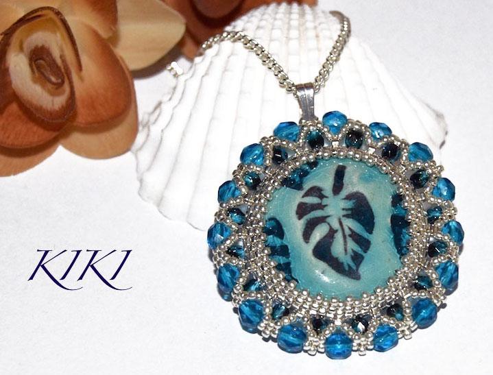 Leafy ceramic pendant