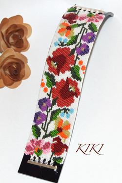 Vivid floral peyote bracelet