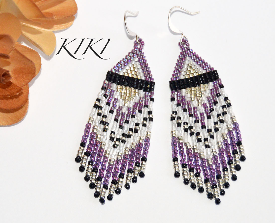 Purplish long earrings