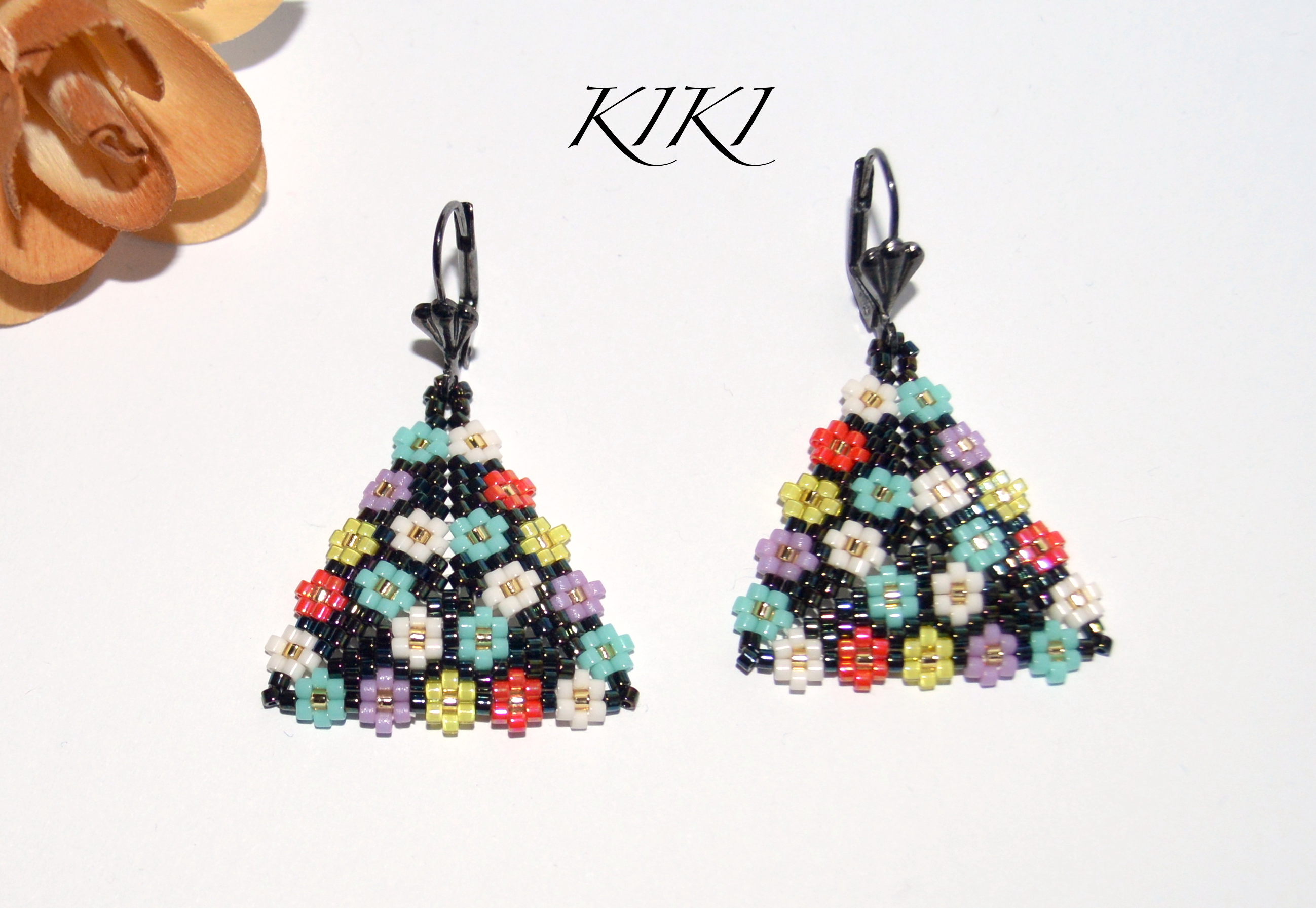Floral peyote triangle earrings
