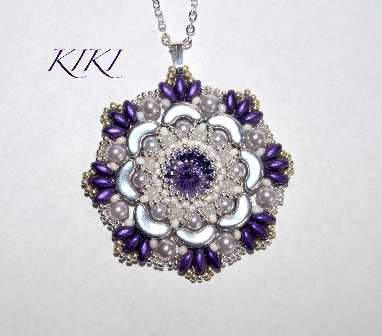 Purple flower pendant